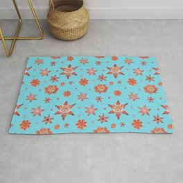 Cats on flowers with sky blue background Rug