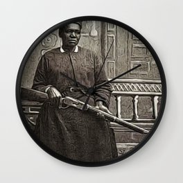 African American Portrait Shotgun 'Mary Wells' by Jeanpaul Ferro Wall Clock