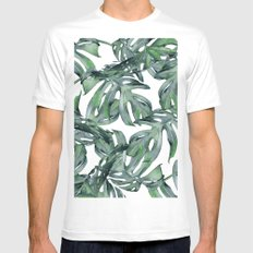 Tropical Palm Leaves Green and White MEDIUM White Mens Fitted Tee