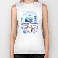 8bit Biker Tanks featuring 8bit Who by Bamboota