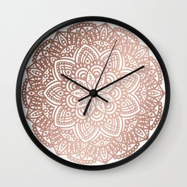 Rose Gold Circular Mandala Wall Clock