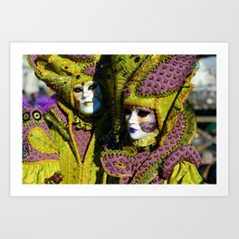 Glamorous Couple With Carnival Costumes Art Print