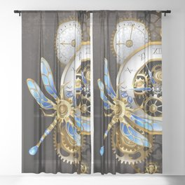 Dials with Dragonfly ( Steampunk ) Sheer Curtain