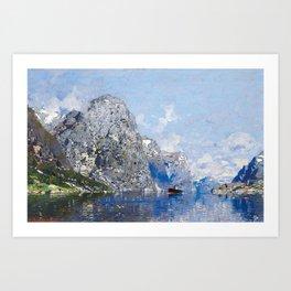 RASMUSSEN, GEORG ANTON 1842 Stavanger - 1914   Norwegian Fjord. Art Print