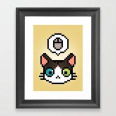 Pixel cat Framed Art Print