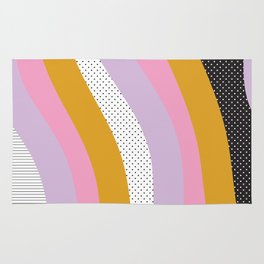 Abstract Print - Mixed Colors and Patterns Wavy Lines Rug