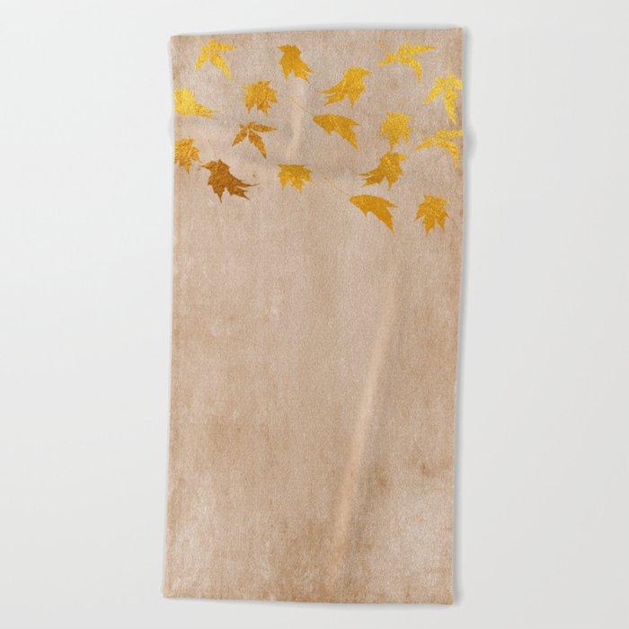 Gold leaves on grunge background - Autumn Sparkle Glitter design #Society6 Beach Towel