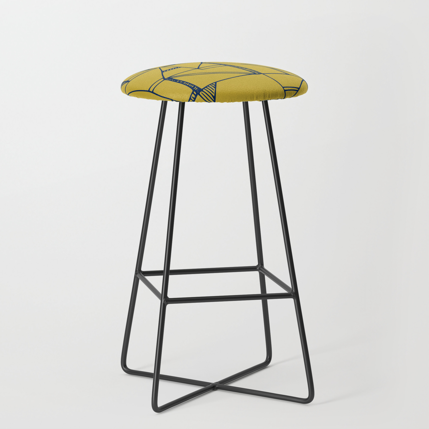 Bauhaus Blue And Yellow Bar Stool By