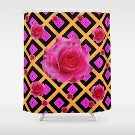 Black-Gold Fuchsia Pink Roses Shower Curtain