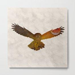 Moonlight Owl - Watercolor Backgrond Metal Print