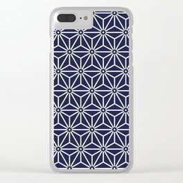 Japanese Yukata Jinbei Asanoha Navy blue Clear iPhone Case