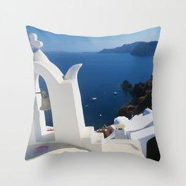 Oia Santorini c Throw Pillow