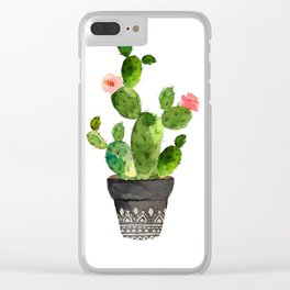 Watercolor cactus Clear iPhone Case