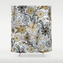Elegant Girly Gold & Silver Glitter Floral Design Shower Curtain
