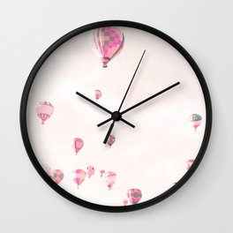 Hot Air Balloons, Blush Wall Clock