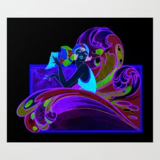 Retro Woman In Waves Art Print