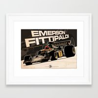 f1 Framed Art Prints featuring Emerson Fittipaldi - F1 1973 by Evan DeCiren