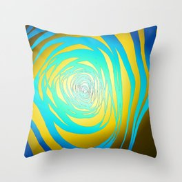 Simple Spiral Blue-Yellow Throw Pillow