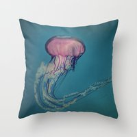 jellyfish Throw Pillows featuring Jellyfish by Pure Nature Photos