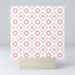 Pink pastel pattern of rhombuses and circles Mini Art Print