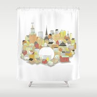 stockholm Shower Curtains featuring Stockholm by eoillustrations