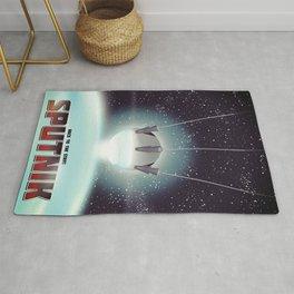 Sputnik Space Race Poster Rug