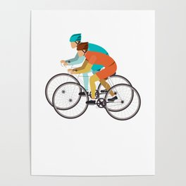 Biker Bike Bicycle Cyclist BMX Bicycling Cycling Exercise Workout Pedal Gift Poster