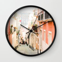 Streets of Lisbon, Portugal - Wall Art Photo Print Wall Clock