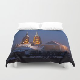Wrocław Cathedral @night Duvet Cover