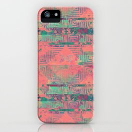Abstract Coral and Aqua Tribal iPhone Case