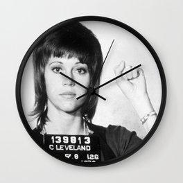 Jane Fonda Mug Shot Vertical Female Future Wall Clock