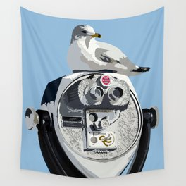 Seagull on Binoculars by the Ocean Illustrated Print Wall Tapestry