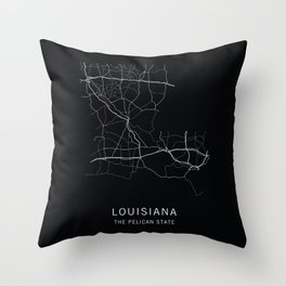Louisiana State Road Map Throw Pillow