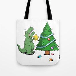 Funny Struggle Is Real Dinosaur Christmas Tree Star Shirt Tote Bag