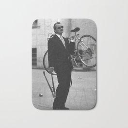 Bill F Murray stealing a bike. Rushmore production photo. Bath Mat