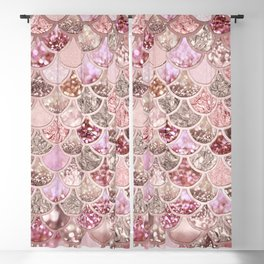 Rose Gold Blush Glitter Ombre Mermaid Scales Pattern Blackout Curtain