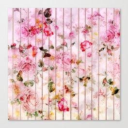 Blush pink coral watercolor floral faux rose gold stripes Canvas Print