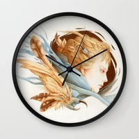 matty healy Wall Clocks featuring Harbinger by Jennifer Healy