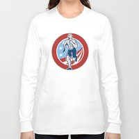 crossfit Long Sleeve T-shirts featuring American Crossfit Runner Running Retro by patrimonio