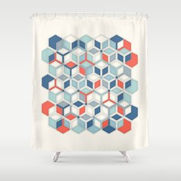 Soft Red, White & Blue Hexagon Pattern Play Shower Curtain