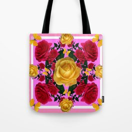RED-YELLOW ROSES & YELLOW BUTTERFLIES ART Tote Bag