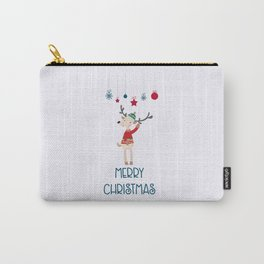 Christmas Reindeer in A Wool Hat and Ugly Sweater Carry-All Pouch