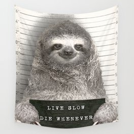 Sloth in a Mugshot Wall Tapestry