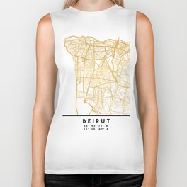 BEIRUT LEBANON CITY STREET MAP ART Biker Tank