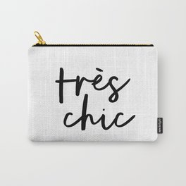 Tres Chic black and white monochrome typography poster design home wall bedroom decor canvas Carry-All Pouch