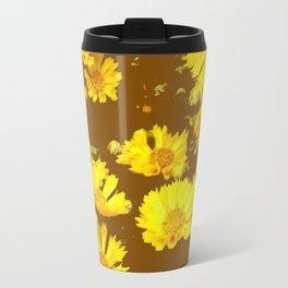 COFFEE BROWN & YELLOW COREOPSIS  FLORAL ART DESIGN Travel Mug