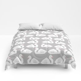 Swan minimal pattern print grey and white bird illustration swans nursery decor Comforters