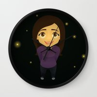 fireflies Wall Clocks featuring Fireflies by Sara Showalter