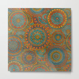 Dot Art Circles Orange and Blues Metal Print