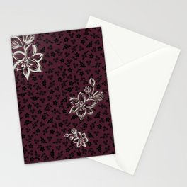 FLOWERS ON TOP OF FLOWERS (burgundy) Stationery Cards